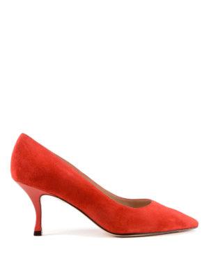 Stuart Weitzman: scarpe décolleté - Décolleté rosse Tippi in camoscio