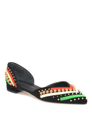 Stuart Weitzman: flat shoes online - Sugardots suede flat shoes