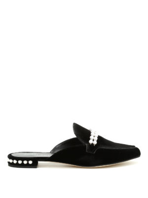 Stuart Weitzman: Loafers & Slippers - Guamule jewel velvet slippers