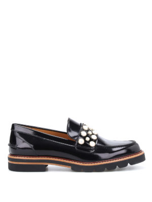 Stuart Weitzman: Loafers & Slippers - Mocpearl brushed leather loafers