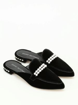 Stuart Weitzman: Loafers & Slippers online - Guamule jewel velvet slippers