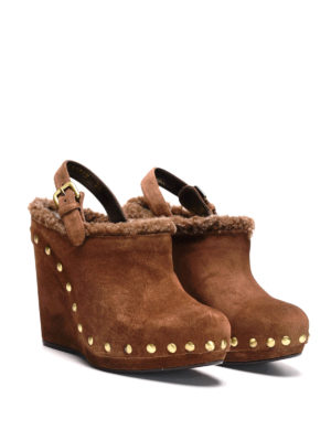 Stuart Weitzman: mules shoes online - Clogger suede wedge mules