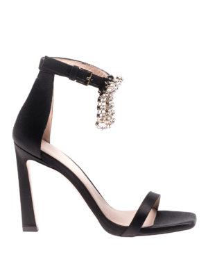 Stuart Weitzman: sandals - Nudist silk satin fringed sandals