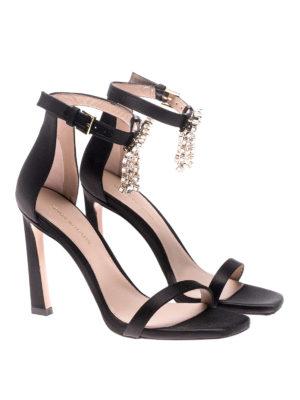 Stuart Weitzman: sandals online - Nudist silk satin fringed sandals
