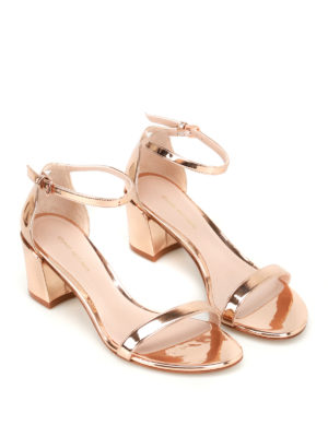 Stuart Weitzman: sandals online - Simple gold-tone patent sandals