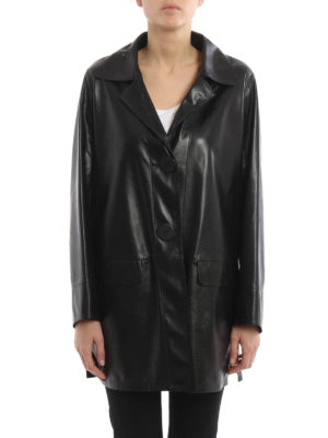 Sylvie Schimmel: leather coats online - Leather single-breasted coat