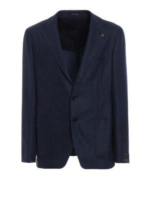 TAGLIATORE: giacche blazer - Blazer in lana occhio di pernice blu azzurro