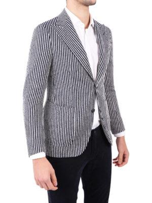 Tagliatore: blazers online - Striped linen blend blazer