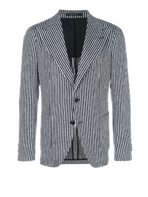 Tagliatore: blazers - Striped linen blend blazer