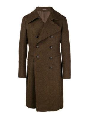 TAGLIATORE: cappotti al ginocchio - Cappotto doppiopetto in misto lana marrone