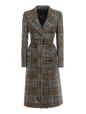 TAGLIATORE: knee length coats - Maxi Prince of Wales wool blend coat
