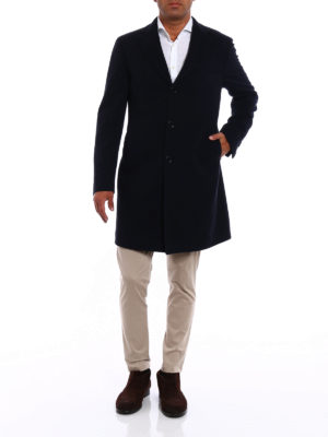 Tagliatore: knee length coats online - Wool and cashmere blue coat