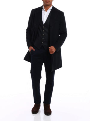 Tagliatore: knee length coats online - Wool and cashmere dark grey coat