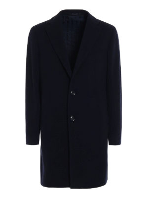 Tagliatore: knee length coats - Wool and cashmere blue coat