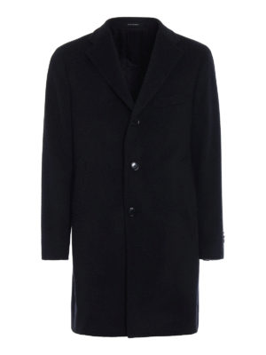 Tagliatore: knee length coats - Wool and cashmere dark grey coat