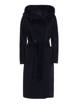 Tagliatore: long coats - Daisy double-breasted hooded coat