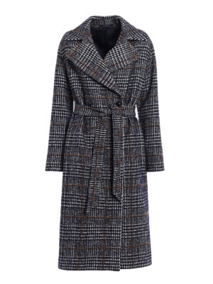 Tagliatore: long coats - Petra houndstooth maxi coat