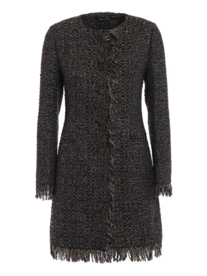 Tagliatore: short coats - Doris metallic tweed short coat