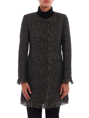 Tagliatore: short coats online - Doris metallic tweed short coat