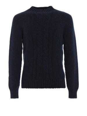 TAGLIATORE: maglia a collo alto e polo - Pull in lana blu mélange con trecce