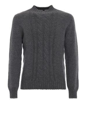 TAGLIATORE: maglia a collo alto e polo - Pull in lana grigio mélange con trecce