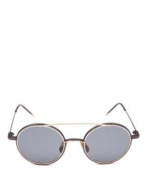 THOM BROWNE: occhiali da sole online - Occhiali da sole tondi in titanio oro 12K