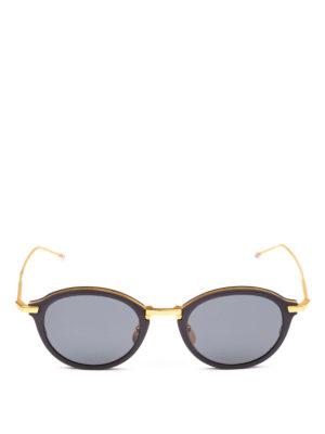 THOM BROWNE: occhiali da sole online - Occhiali da sole in titanio oro e nero