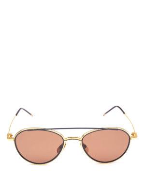 THOM BROWNE: occhiali da sole online - Occhiali da sole aviator in titanio blu e oro