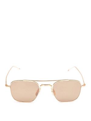 THOM BROWNE: occhiali da sole online - Occhiali da sole rettangolari in titanio oro