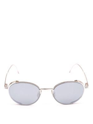 THOM BROWNE: occhiali da sole online - Occhiali da sole in titanio argento lavorato
