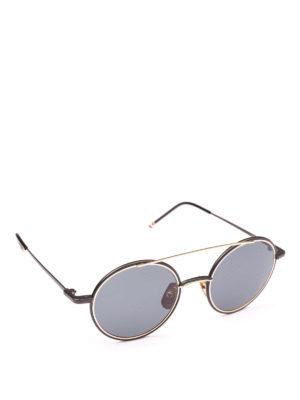 THOM BROWNE: occhiali da sole - Occhiali da sole tondi in titanio oro 12K