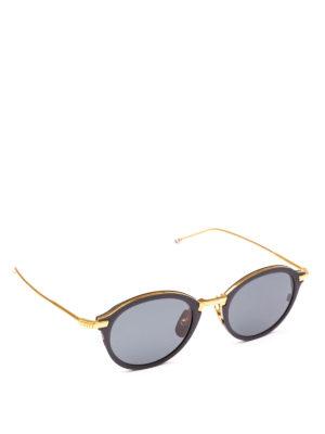 THOM BROWNE: occhiali da sole - Occhiali da sole in titanio oro e nero