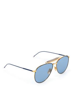 Thom Browne: sunglasses - Blue and gold metal sunglasses