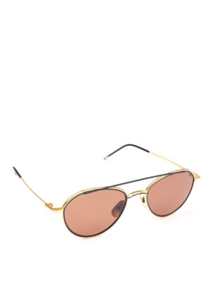 THOM BROWNE: occhiali da sole - Occhiali da sole aviator in titanio blu e oro