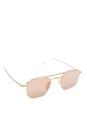 THOM BROWNE: occhiali da sole - Occhiali da sole rettangolari in titanio oro