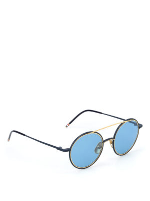 Thom Browne: sunglasses - Metal blue and gold sunglasses
