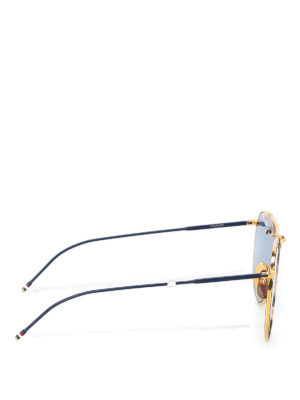 Thom Browne: sunglasses online - Blue and gold metal sunglasses
