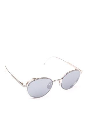 THOM BROWNE: occhiali da sole - Occhiali da sole in titanio argento lavorato
