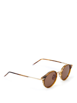Thom Browne: sunglasses - Tortoise and gold-tone sunglasses