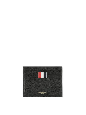 Thom Browne: wallets & purses - Black textured leather card holder