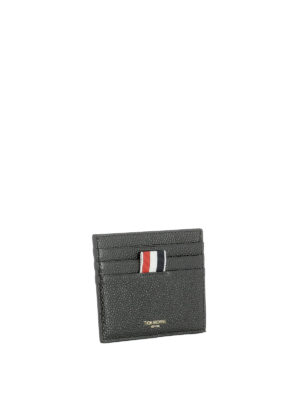Thom Browne: wallets & purses online - Black textured leather card holder