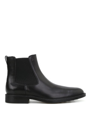 TOD'S: ankle boots - Black leather slip-on booties