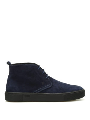 Tod'S: ankle boots - Blue suede desert boots