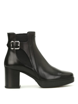 Tod'S: ankle boots - Brushed leather buckle booties