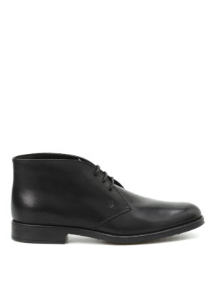 Tod'S: ankle boots - Brushed leather lace-up booties