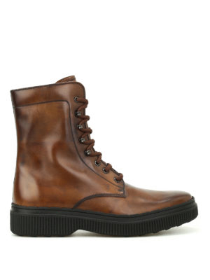 Tod'S: ankle boots - Faded brushed leather combat boots