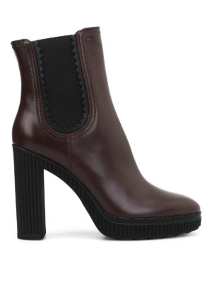 Tod'S: ankle boots - High heeled brown leather booties
