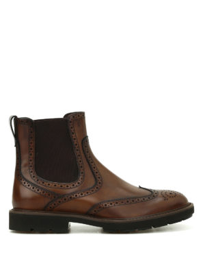 Tod'S: ankle boots - Leather brogue ankle boots
