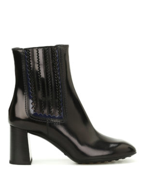 Tod'S: ankle boots - Leather zigzag detail booties