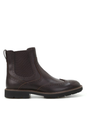 Tod'S: ankle boots - Lug rubber sole brogued booties